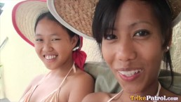 Threesome fun with two cute Filipina amateurs met by the pool