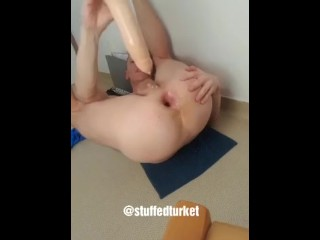 Gay french twink dildo at the gaping asshole