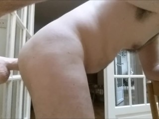 Straight guy ass to mouth and ass fuck by door with huge dildo