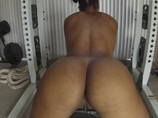 ebony fitness babe begs for white cock | jerk off instruction