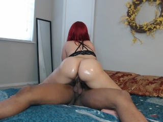Bubble butt red head ride's cock w/ perfect oiled ass!