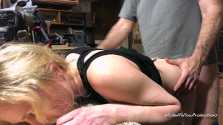 PAINAL Bunny gets her little ass fucked and filled with cum for being bad Dick licking