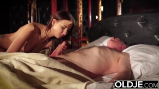 Preview 4 of Grandpa fucks his young wife licks her pussy and cums in her pretty mouth