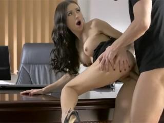 Babes sasha rose rides a hard dick office...