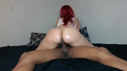 Big booty red head ride's hard cock!