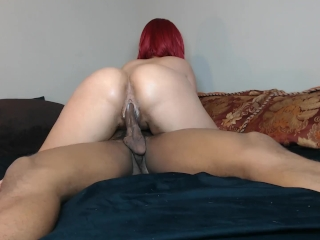 Red head rides her friends cock for fun!