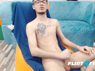 Eddie Slim on Flirt4Free - Skinny Euro with Glasses Strokes His Big Cock