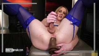 Sweet Blonde Kayleigh Jerks her Hard Dick and Fucks herself