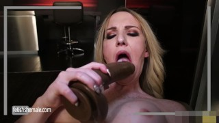 Sweet Blonde Kayleigh Jerks her Hard Dick and Fucks herself Tits tranny