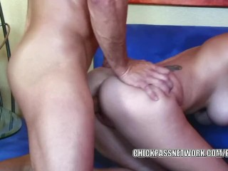 Busty babe Alexia Rae takes all the jizz on her big boobs