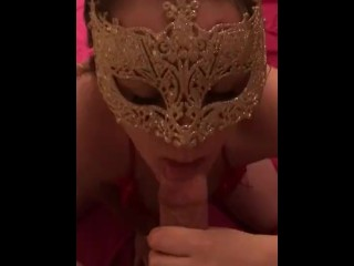 SEXY MASKED WHORE SUCKS UP AND DOWN MY THICK COCK