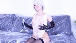 Nier Automata - 2B Solo Masturbate - Game Hentai Porno Cosplay Toy moaning