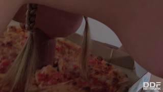 Delicious Pizza Topping - Delivery Girl Wants Cum in Mouth Small big