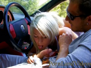 Blonde Street Whore Sucking and Fucking in the Car