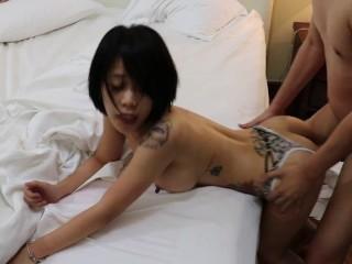 Drunk Asian slut got fucked without condom