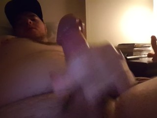 Showing off for a friend, jerking off with lube