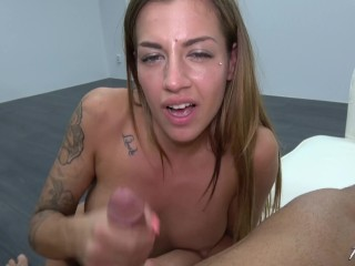 Silvia Dellai make lolipop from huge cock and lick his cum