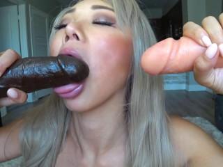 Asian gagging sloppy blowjob dildo bukkake