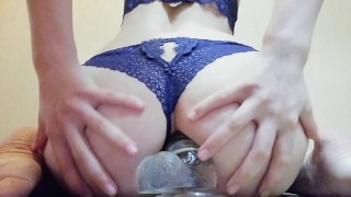 The herself anal in has girl dildo play