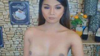 Wild Asian Shemale Jerks on her Big Hard Dick