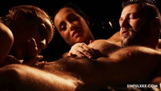 Screen Capture of Video Titled: Most amazing close up threesome sex video