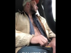 Hairy Dad jerks off in pick up truck