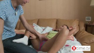 Young sinner insatiable and sperm drinker in white sock