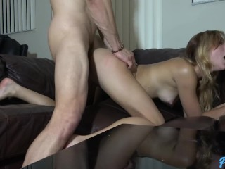 Ana Rose gets a creampie from Bambino on her parents couch while at work