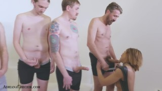 Adriana Chechik sucks off her fans ins a FANBLOWBANG porno