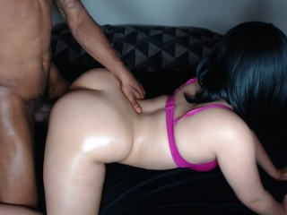 Thick redbone takes it hard doggy style in pink bra!