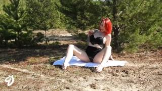 Outdoor Striptease Nina Devil Tattoo dick