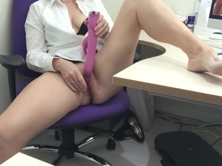 Office Masturbation While Watching Porn With Dildo Play. Legs Spread.