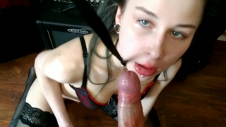 Leash on a with hard load cum babe hot massive facefuck blowjob cumshot