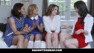 DaughterSwap - Two Hot Moms Teach Their Stepdaughters Lesbo Sex Stepdad skinny
