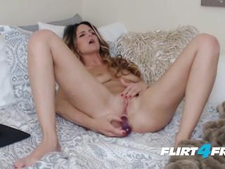 Whitnee James on Flirt4Free - Sexy Blonde Petite Babe Penetrates Both Holes