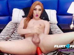 Selena Thomas on Flirt4Free Transgender - Shemale Jerks Big Load on Dildo