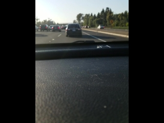 White Boy Plays With Cock While Driving on Freeway