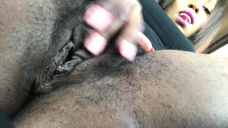 Masturbating my hairy pussy in Best Buy parking lot. porno