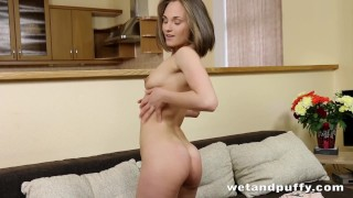 Cherry Pussy - Sweet Emira strips and masturbates while toying her ass porno