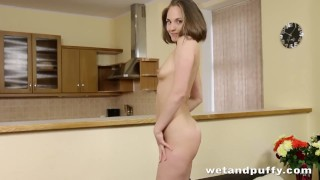 Cherry Pussy - Sweet Emira strips and masturbates while toying her ass