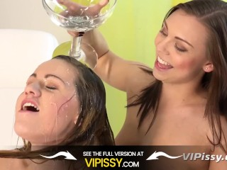 Lesbian Piss Drinking - Czech hotties Morgan and Barbe taste their pee