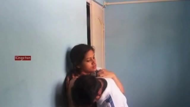 Desi girl standing Black bra boob press 19
