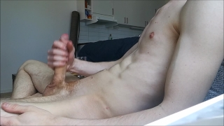Home alone and jerkning my big hard cock off, BIG LOAD! Handjob oral