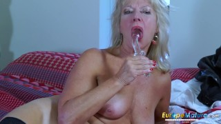 EropeMaturE Milf Blonde Playing Alone with Dildo porno