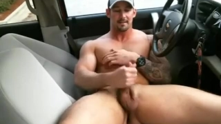 A hunk with country in car buttplug cam solo