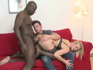 Blonde hottie cheating on boyfriend with black man he watches them fuck