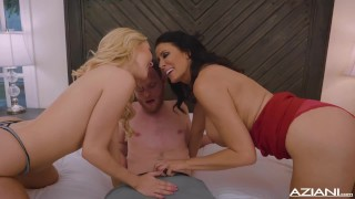 Preview 3 of One Lucky Bastard, Mitt has 3 way with hot Blonde and Brunette Milf