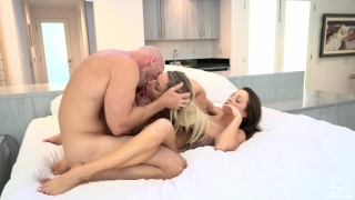 Luckiest Guy Ever Has 3some Morning Sex w/ His 2 Hot Girlfriends & Creampie  sharing my wife cowgirl 3some doggystyle girl eating creampie bubble butt big ass white girls big cock lingerie creampie sinslife threeway