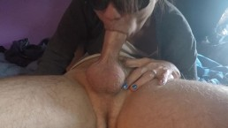 Close Up blowjob with oral creampie