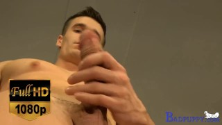 Max's pants fall to the floor & he starts jacking his Colombian cock